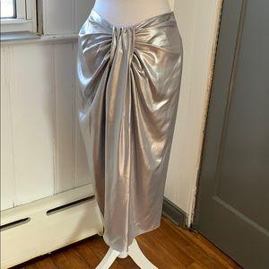 NWT Zara Metallic-Effect Draped Skirt